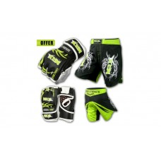 Gym Gloves Shorts UFC Cage Grappling Kickboxing Fight Gear Set