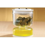 2 Plastic Flip Lid Jars Stay Fresh Food Storage Serve Olive Pickle Jar Container