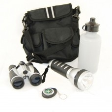Outdoor 5Pc Camping Set With Bag Binocular Compass Flashlight Emergency Survival