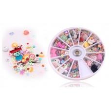 Superior 1200 pcs Mixed Nail Art Flower Rhinestone Decoration & Wheel